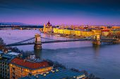 Famous European Touristic Travel Location. Amazing Cityscape Panorama With Spectacular Chain Bridge  poster