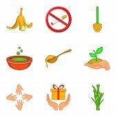 Bio Personal Hygiene Icon Set. Cartoon Set Of 9 Bio Personal Hygiene Icons For Web Design Isolated O poster