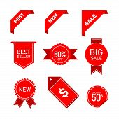 Set Ribbon Banner And Label Sticker Sale Offer And Badge Tag Sale Advertising. 50% Text, Big Sale Te poster