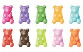 image of gummy bear  - illustration of gummy bears on a white background - JPG