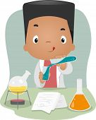 Illustration of a Boy Mixing Chemicals in a Laboratory