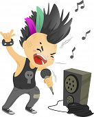 stock photo of mohawk  - Illustration of a Boy Dressed as a Rockstar Singing in front of a Loudspeaker - JPG