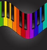 image of rainbow piano  -  colorful piano keyboard in the form of waves on a black background - JPG