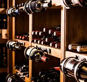 foto of merlot  - Wine cellar full of wine bottles - JPG