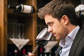 stock photo of wine cellar  - Man tasting a glass of red wine - JPG