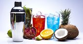 stock photo of sidecar  - Alcohol drinks set with fruits - JPG