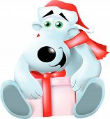 stock photo of polar bears  - a polar bear wearing a Santa hat and holding a present - JPG