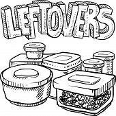 stock photo of tupperware  - Doodle style leftovers in plastic containers illustration from holiday meals and text message - JPG