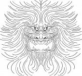 stock photo of bestiality  - Demonic beast in vector line art form - JPG