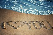 I Love You - Written In The Sand With A Foamy Wave Underneath