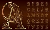 stock photo of alphabet  - Gold Vintage floral Alphabet Set - JPG