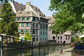 stock photo of petition  - Old half of colourful timbered houses in Petite France Strasbourg - JPG