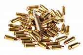pic of 9mm  - a heap of 9mm pistol bullets isolated over a white background