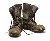 stock photo of boot  - Old and dirty military boots isolated on white background - JPG