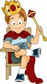 pic of scepter  - Illustration of a Kid Boy Dressed as Prince Sitting on a Student Chair - JPG