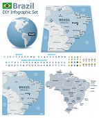 stock photo of hemisphere  - Federative Republic of Brazil maps with markers - JPG