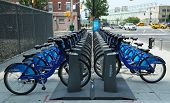Citi bike station in Manhattan