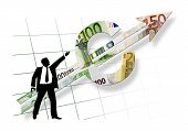 stock photo of marketing strategy  - business man silhouette showing direction of euro pointer on white background with dissolving grid - JPG