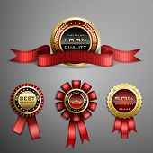 stock photo of laurel  - Vector set of red award ribbons and golden medals - JPG