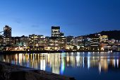 stock photo of cbd  - Wellington CBD At dusk on a winter - JPG