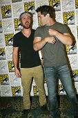 SAN DIEGO, CA - JULY 20: Sam Huntington and Sam Witwer arrive at the 2013 Comic Con press room at th