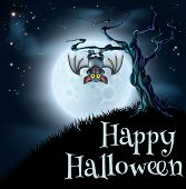 picture of vampire bat  - A spooky scary blue Halloween background scene with vampire bat hanging from a spooky tree with a full moon in the background - JPG