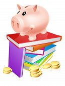 image of convocation  - A piggy bank standing on a stack of books and surrounded by coins - JPG