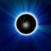 stock photo of bowling ball  - Bowling ball on a dark blue background - JPG
