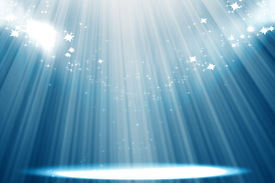 stock photo of curtains stage  - Curtain background with spotlights and glitters on it - JPG