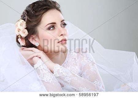 Portrait of beautiful bride. Wedding dress. Wedding decoration poster