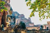 pic of gautama buddha  - Ancient Buddha of Temple Wat Chaiwatthanaram at Ayutthaya Thailand - JPG