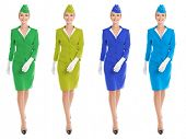 foto of work crew  - Charming Stewardess Dressed In Uniform With Color Variants - JPG