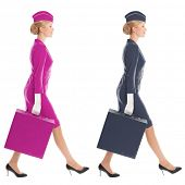 Charming Stewardess Dressed In Uniform And Suitcase With Color Variants. Isolated On White Backgroun