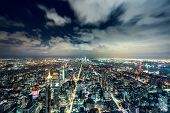 stock photo of windy weather  - New York City at night - JPG