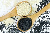 stock photo of mixture  - Mixture of white and black sesame on wooden spoons - JPG