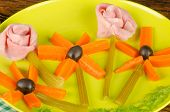picture of olive shaped  - Cold salad with ham in the shape of flowers a healthy kid meal - JPG