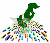 pic of pakistani flag  - Pakistan map flag reflected with containers illustration - JPG