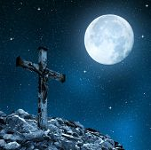pic of inri  - Jesus Christ on The Cross in night sky - JPG