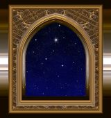 stock photo of science fiction  - gothic or science fiction window looking into starry night sky with wishing star - JPG