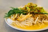 picture of rice noodles  - Rice vermicelli are thin noodles made from rice and are a form of rice noodles - JPG