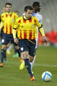 BARCELONA - DEC, 30: Catalan player Jordi Alba of FC Barcelona in action during the friendly match b