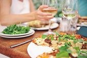image of lunch  - Healthy restaurant lunch for vacation couple in summer - JPG