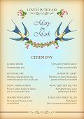 foto of swallow  - Floral wedding party card with flowers - JPG
