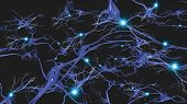 image of nerve cell  - Brain cells with electrical firing - JPG