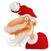 stock photo of gullible  - Santa Claus with white beard piercingly staring at you - JPG