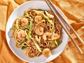 pic of lo mein  - chinese shrimp lo mein overhead shot - JPG