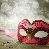 picture of parade  - Pink carnival mask with glittering background - JPG