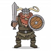 pic of character traits  - Illustration angry Viking stand with sword and shield - JPG