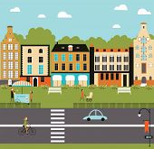 stock photo of suburban city  - Illustration of city life in bright colors - JPG