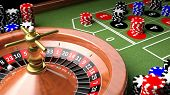 stock photo of zero  - 3D closeup of casino table with roulette and chips - JPG